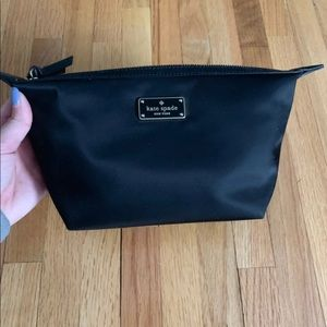 NWT Kate Spade Cosmetic Makeup Black Logo Bag